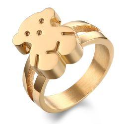 Cute Bear Thème Accessoires de Mode de sonnerie de l'or / argent Anneau d'enfants