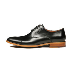 Elegantes schwarzes Lace-up gebildetes eigenhändig echtes Leder Derby bereift kühle Jungen-Schuhe