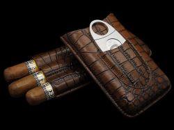 Cohiba Cigar étui en cuir de crocodile cas un humidor avec Cutters (ES-CA-002)