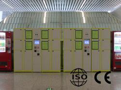触れられたスクリーンの硬貨か銀行券によって取られる情報処理機能をもった手荷物用ロッカー(DKC)