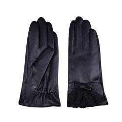 De Schapehuid van de Handschoen van het Leer van dames Ander Kant van het Leer van de Winter van de Manier van Sporten Waterdicht Zwart Goedkoop Gloves voor Vrouwen