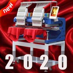 خدمة لمدة 10 سنوات مصنع Holiauma 2 رأس مسطح / Hat/ 3D/ آلة التطريز الجلدي / الكمبيوتر مع 400*500 مم المنطقة 15 لون الصين أعلى جودة