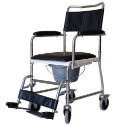 Wc silla cómoda silla con ruedas - La cabecera de transporte Silla de ducha portátil de aluminio resistente al agua de baño plegable silla inodoro