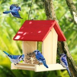 Barato em madeira tradicional tabela bird garden Aves Alimentação do Alimentador do Cilindro de alimentação da estação a estação de mesa Bird House
