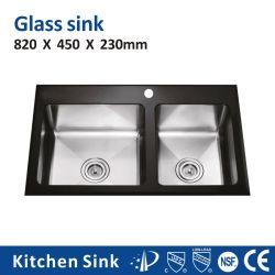 """كندا R20 مم 36 بوصة """"حوض الثقب الأول"""" المدمج في الجدول زجاج مستدق SUS304 S201 مجموعة امتصاص من الفولاذ المقاوم للصدأ مع تصريف الأرضية بالنسبة لمشروع فيلا ويدينج مطبخ"""
