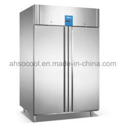1400L нержавеющая сталь двойные двери морозильной камеры в коммерческих целях на верхней панели компрессора