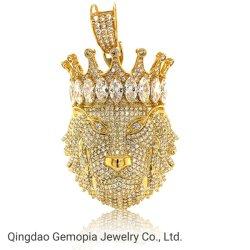 925 de zilveren 10K 14K Stevige Gouden Schitterende Duidelijke Juwelen van de Manier van de Tegenhanger van de Koning van de Leeuw van de Kroon van CZ