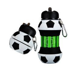 Sin BPA de fútbol el deporte al aire libre forma de botella Botella de agua de silicona plegable