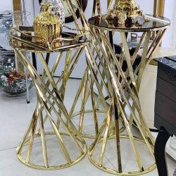 Nuevos muebles de la actividad de la parte superior de cristal de espejo de Acero Inoxidable 3 Piezas de mesa pastel de boda