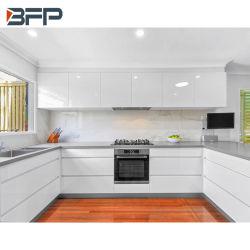 Diseño personalizado de laca Blanco alto brillo modernos gabinetes de cocina con isla