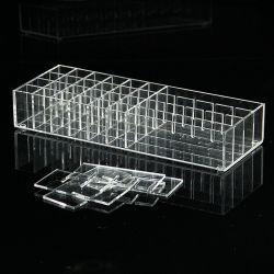 Wholesale PMMA transparente personalizado compartimiento rectangular de acrílico de metacrilato regulable paleta de maquillaje labios Mostrar ingenio divide a la vanidad