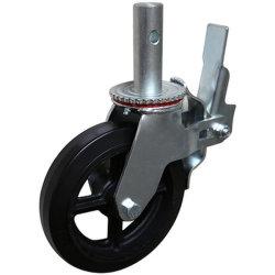 """Kapazität 10 """" 771lbs pro Fußrollen-Hochleistungsgestell-Schwenker-Gesamtverschluss-Bremse mit schwarzem Gummi auf Roheisen-Rad"""