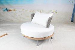 أريكة يمكن تحويلها إلى سرير كبيرة مع أثاث أريكة حديقة مصنوع من خشب السميك والوسادة