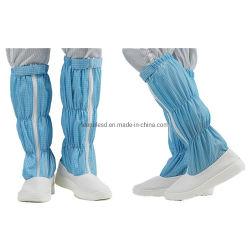 도매 작업 먼지 없는 신발 화이트 블루 부츠 ESD PU 가죽 부츠
