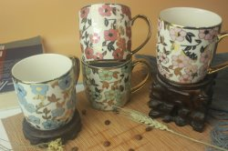 Neue kreative Designs Luxus Bone China 14oz Kaffee goldene Becher Keramik
