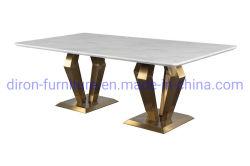 Tavolo da pranzo in acciaio inossidabile dorato con piano in marmo curvo di lusso