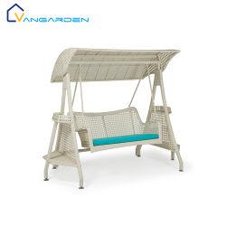 Patio di lusso, adulti, doppia sedia da giardino girevole in vimini con tettoia