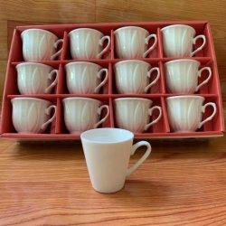 Tazza da caffè espresso bianco Cina a ossa fine Ceramica 12PZ colore Scatola picchcing