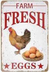 Il segno di alluminio delle retro del metallo dello stagno del segno dell'annata uova fresche dell'azienda agricola per il metallo domestico della decorazione di pollice della decorazione 8X12 della parete del caffè (20*30cm) firma i segni promozionali