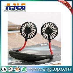 소형 휴대용 거는 Neckband 팬 USB 재충전용 목 팬 공기 냉각기 조절기 다채로운 방향 전기 책상 팬
