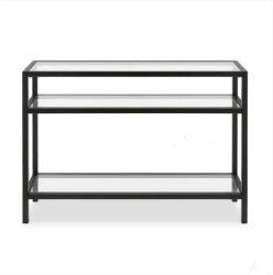 Qualidade elevada vendendo Preto Metálico de ferro três Arquivar mesa console com vidro temperado prateleiras