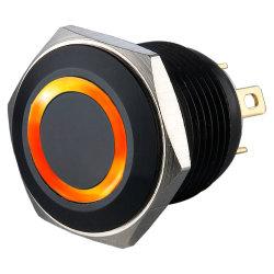Marcação de alumínio anodizado empurre o interruptor de botão com LED laranja
