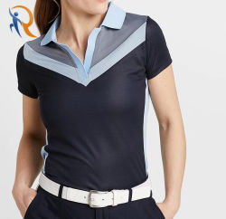100% Poly Golf Deportes Quick-Drying Polo Shirt mujeres llevan el Rtm-035