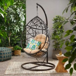 كرسي هزلي، كرسي أرجوحة منسوج يدويًا، كرسي أرجوحة منسوج بالحبل، داخلي، خارجي، منزلي، غرفة نوم، فناء، منصة، حديقة