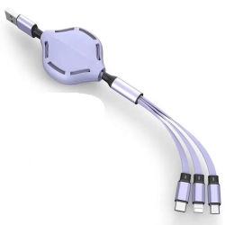 3-in-1 USB snellaadkabel, intrekbaar, 8-pins, micro+type C