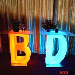 أثاث مضاء بضوء مضيء وأثاث زفاف LED إضاءة مقعد المكعب أثاث الحديقة أثاث خارجي LED منضج A-Z الطاولة