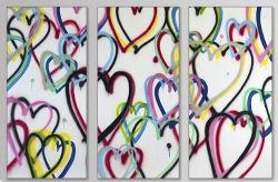 Imágenes de la pared a mano pinturas al óleo, embellecen el arte de la lona Art. amor corazones Juego de 3 tamaños de 12X36 pulgadas X 3 PC-200665 Ol