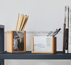 Os organizadores da escova de carvão de madeira personalizada porta-canetas com moldura fotográfica