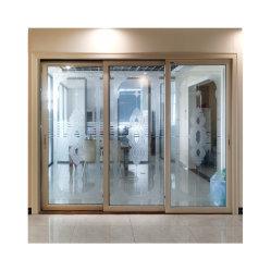 إمداد المصنع بزجاج مزدوج ثلاثة مسارات أبواب داخلية منزلقة من الألومنيوم
