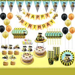 Decoración de la fiesta de cumpleaños de la excavadora de la placa de papel pancarta suministros cumpleaños