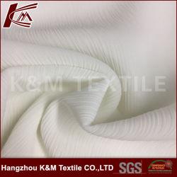 100% Polyester blanc tissu polyester ondulée en mousseline robe pour les femmes