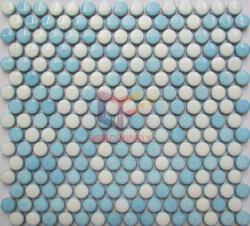 Penny céramique brillant rond bleu Mosaïque Décoration de mur intérieur (CFL48)