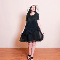 Fashion robe de mousseline de soie noire