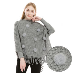 新しい女性はフリンジの安い価格の卸売が付いているショールの冬の布を編むポンチョを編んだ