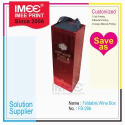 Imeeの印刷の習慣は180度浮彫りにされたFoldable手ストラップのギフト用の箱のワインのパッキング包装を平らにする