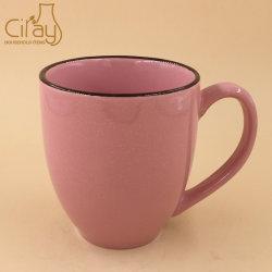 La promotion de vente en gros deux tons Cuillère en céramique tasse avec poignée