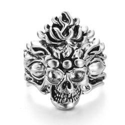 VAGULA Vintage Silver Skull Biker Ring