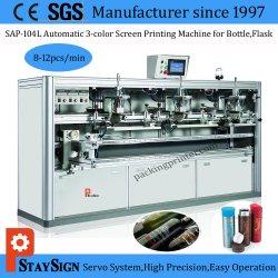 Sap-104L drie Machine van de Druk van de Serigrafie van de Fles van de Aandrijving van Kleuren de Automatische Servo