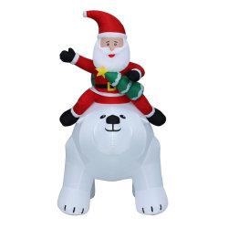 СВЕТЛЫЙ джигант Рождество Санта Клаус катание полярный медведь, светодиодные огни вне помещений Праздничные украшения