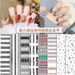 Klassische anhaftende Nagel-Aufkleber-Schwarzweiss-Farben-Abziehbild-Japaner-Blumen der Rasterfeld-gestreifte Nagel-Aufkleber-3D