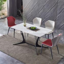 Design moderno e compacto de granito em mármore pernas de metal Square mesa de jantar