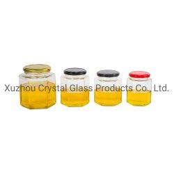45мл-750мл стекла с шестигранной головкой емкость упаковки продуктов питания кувшин меда со стеклянным кувшином и металлической крышки багажника