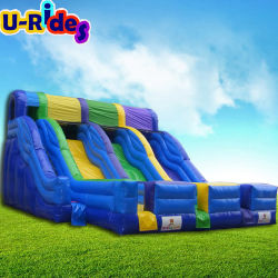 Baratos caliente 3 pistas de agua inflable tobogán hinchable de juguete de diapositivas inflables para eventos