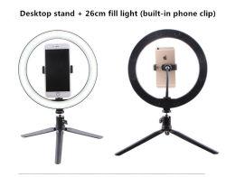 Telefone do círculo ajustável suporte tripé Live Espelho luz circular LED