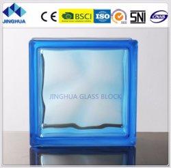 La alta calidad Jinghua turbio color azul 190x190x80mm de ladrillo y bloque de vidrio