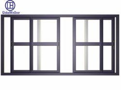 L'Australie standard utilisé en aluminium commercial fenêtre double coulissante en verre trempé